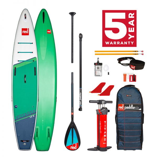Red Paddle Co Voyager 13'2 with carbon nylon paddle